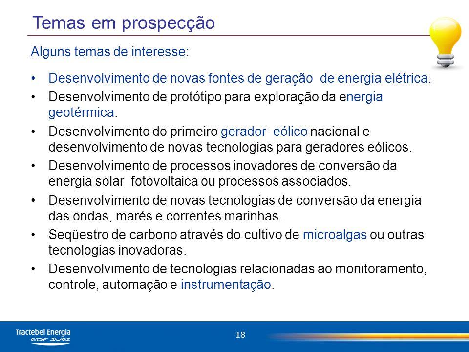 Temas em prospecção Alguns temas de interesse: