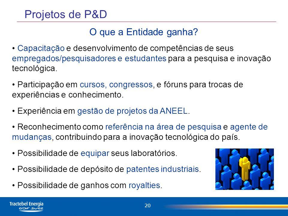 Projetos de P&D O que a Entidade ganha