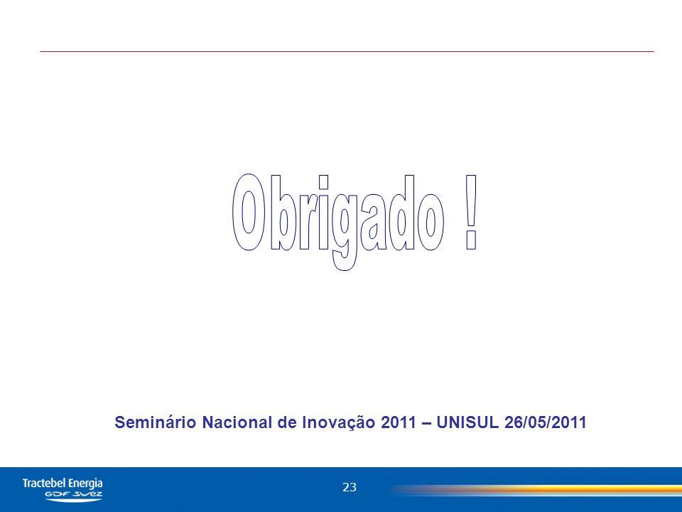 Seminário Nacional de Inovação 2011 – UNISUL 26/05/2011