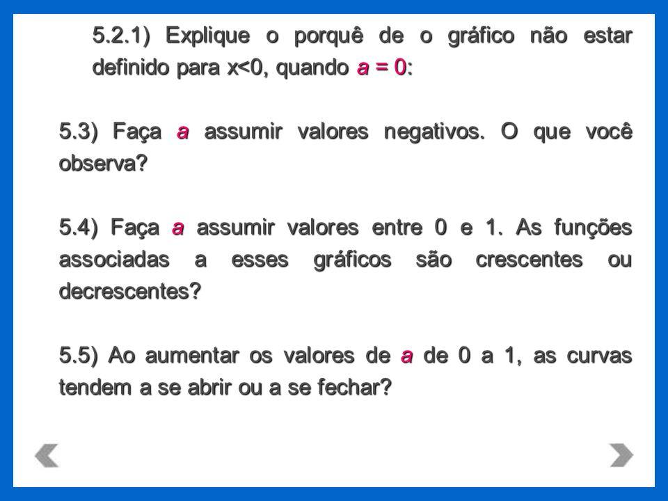 5.2.1) Explique o porquê de o gráfico não estar definido para x<0, quando a = 0: