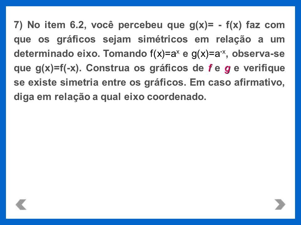 7) No item 6.2, você percebeu que g(x)= - f(x) faz com que os gráficos sejam simétricos em relação a um determinado eixo.