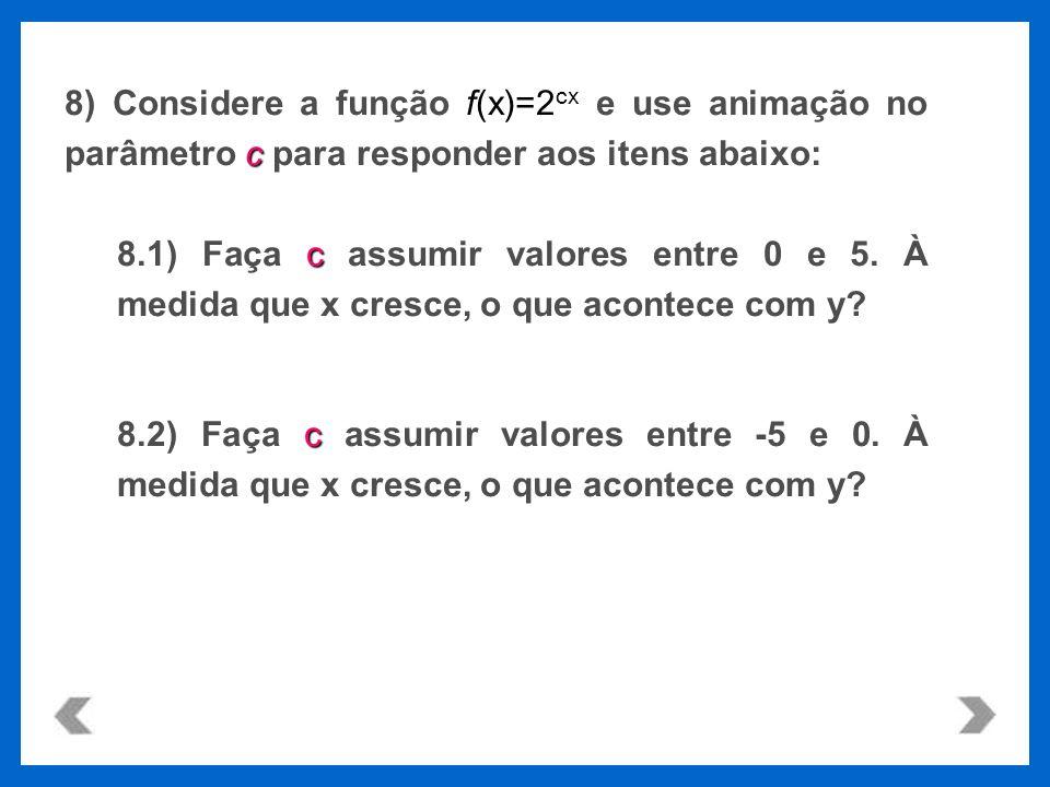 8) Considere a função f(x)=2cx e use animação no parâmetro c para responder aos itens abaixo: