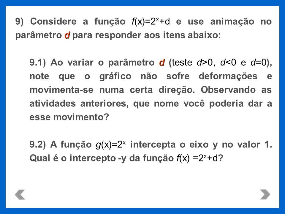9) Considere a função f(x)=2x+d e use animação no parâmetro d para responder aos itens abaixo: