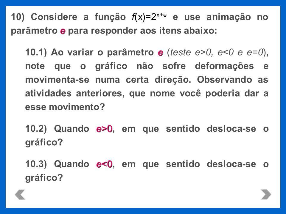 10) Considere a função f(x)=2x+e e use animação no parâmetro e para responder aos itens abaixo: