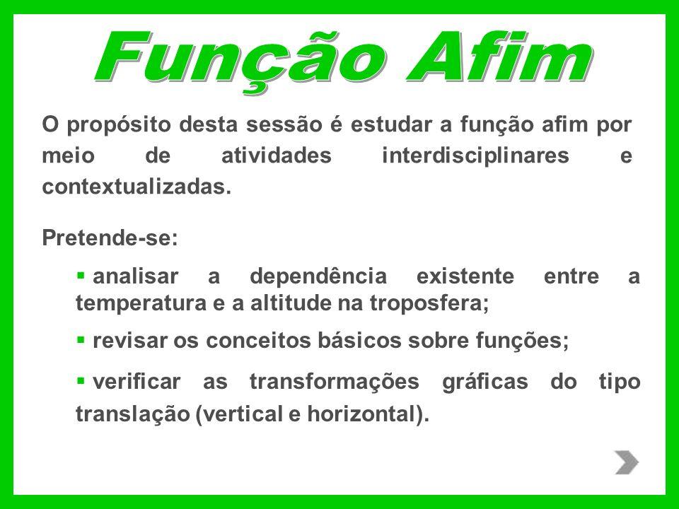 Função Afim O propósito desta sessão é estudar a função afim por meio de atividades interdisciplinares e contextualizadas.