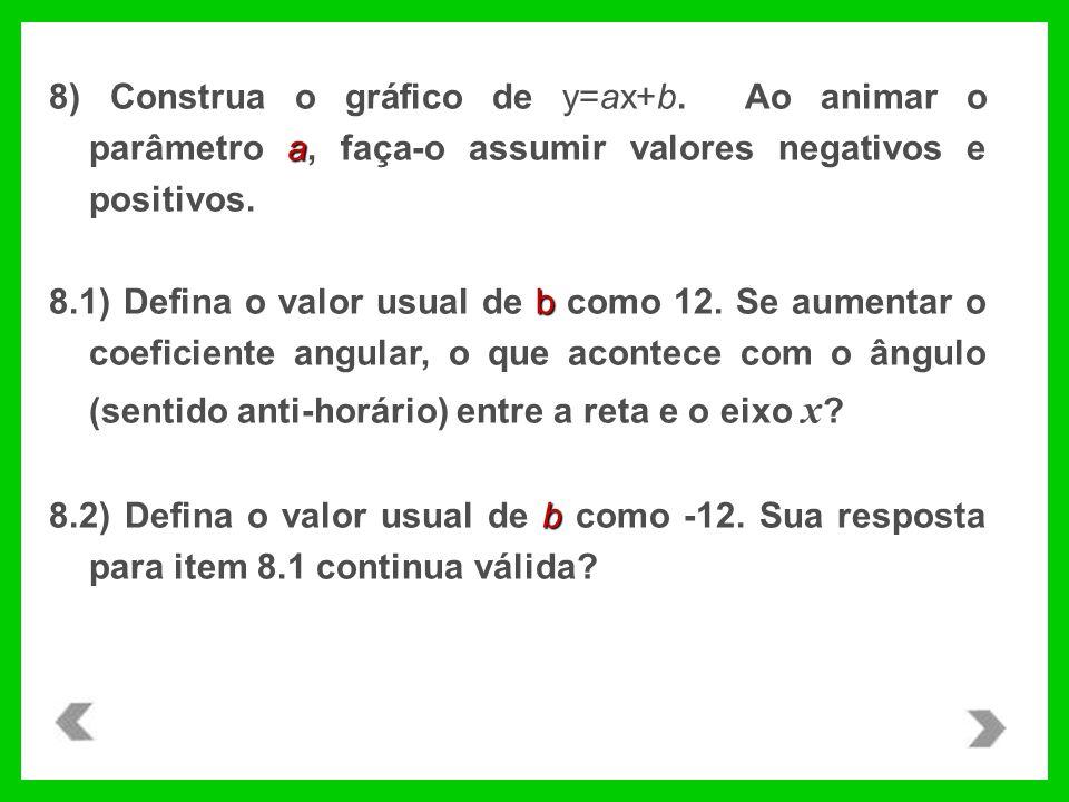 8) Construa o gráfico de y=ax+b