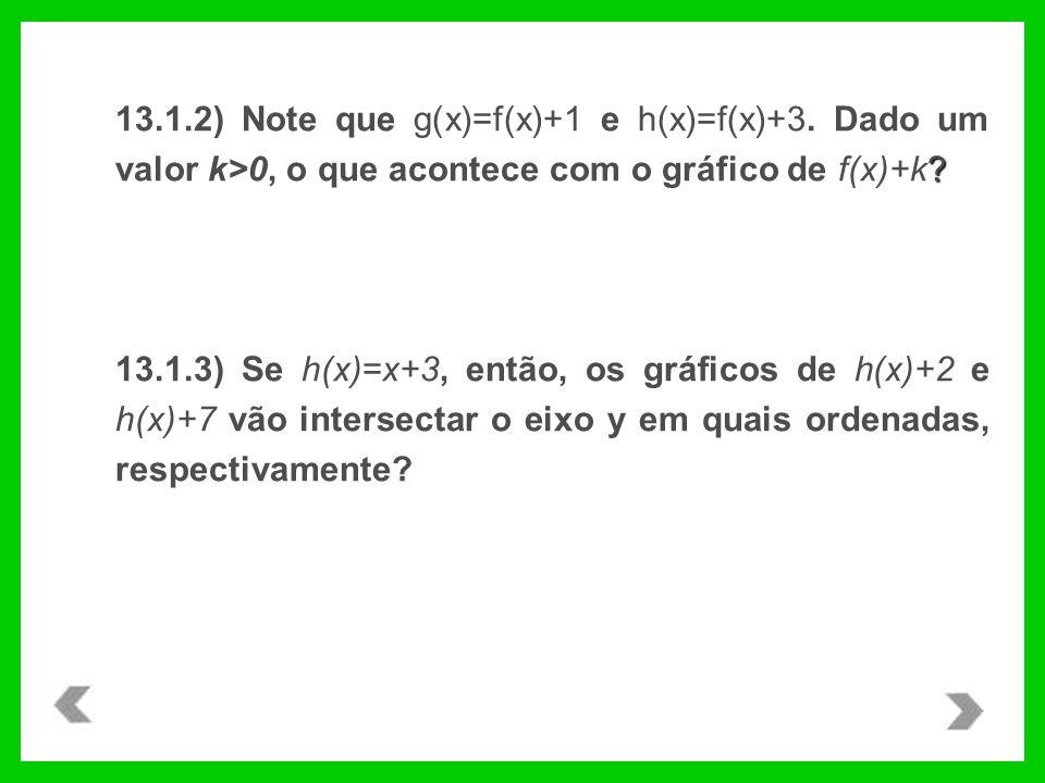 13. 1. 2) Note que g(x)=f(x)+1 e h(x)=f(x)+3