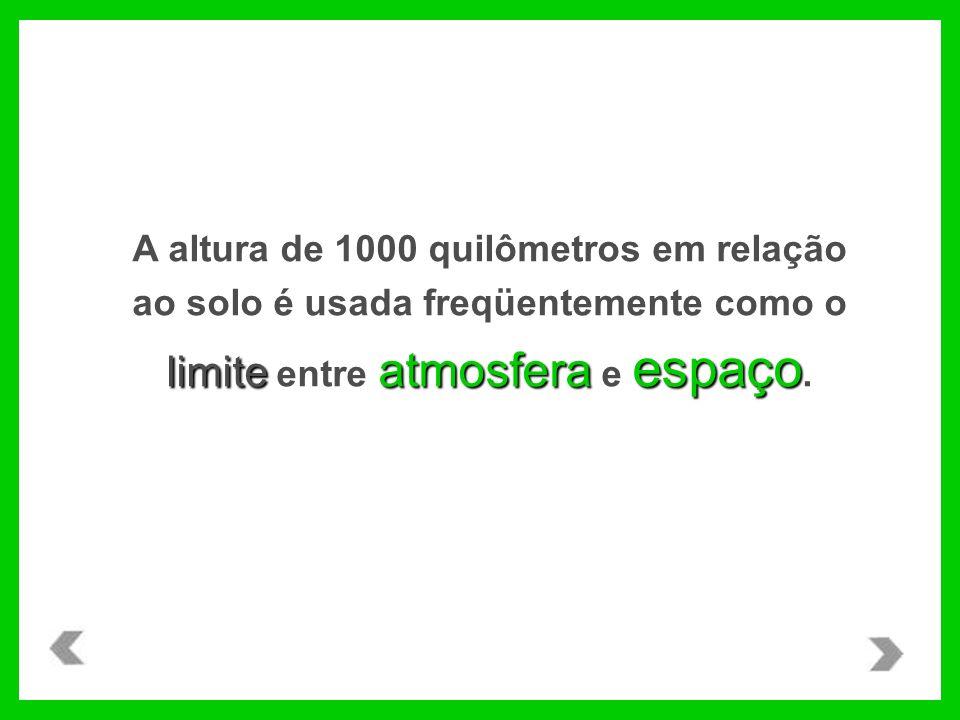 A altura de 1000 quilômetros em relação ao solo é usada freqüentemente como o limite entre atmosfera e espaço.