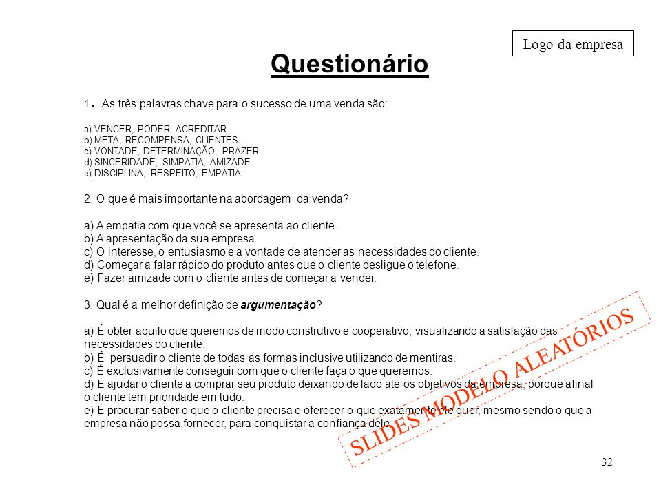 Questionário SLIDES MODELO ALEATÓRIOS Logo da empresa
