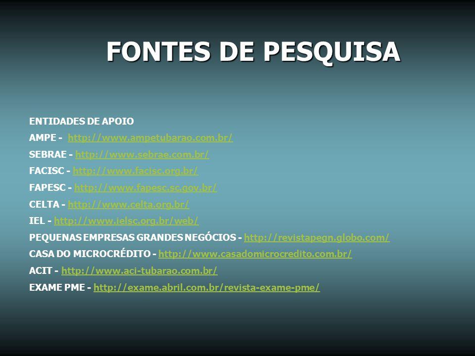 FONTES DE PESQUISA ENTIDADES DE APOIO