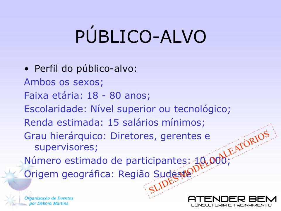 PÚBLICO-ALVO Perfil do público-alvo: Ambos os sexos;