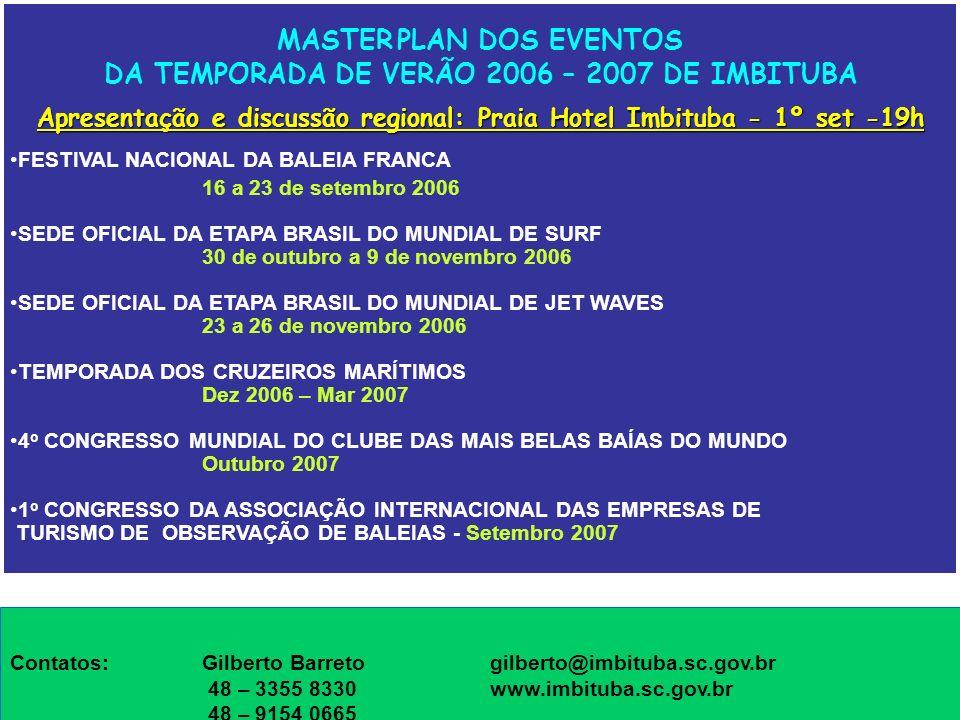 MASTER PLAN DOS EVENTOS DA TEMPORADA DE VERÃO 2006 – 2007 DE IMBITUBA