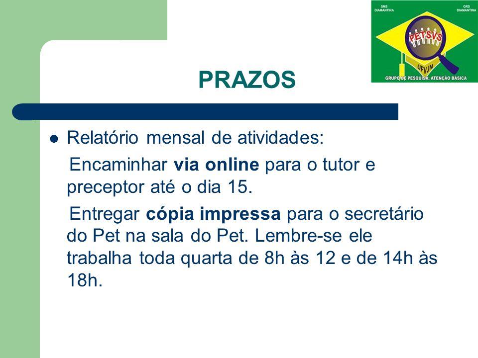 PRAZOS Relatório mensal de atividades: