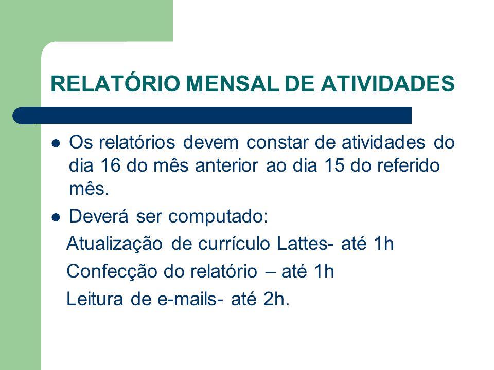 RELATÓRIO MENSAL DE ATIVIDADES