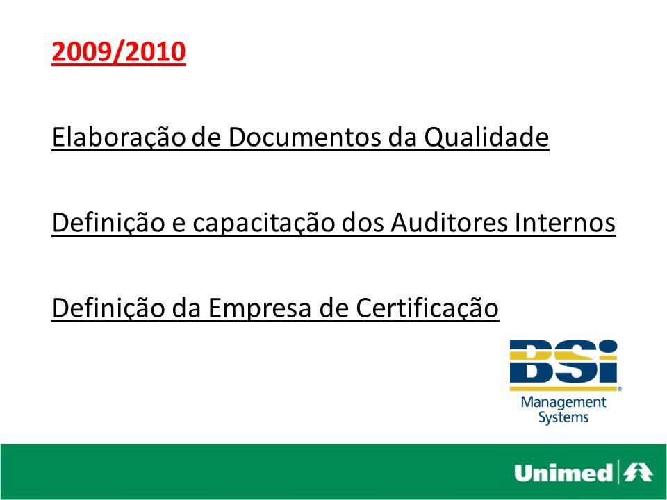 2009/2010 Elaboração de Documentos da Qualidade. Definição e capacitação dos Auditores Internos.