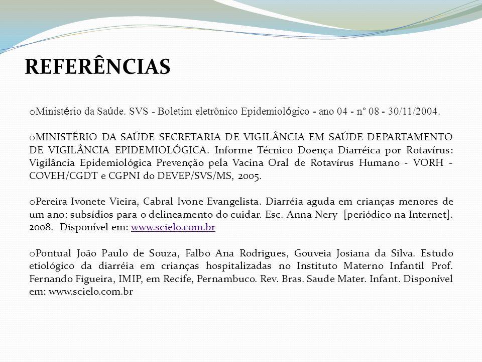 REFERÊNCIAS Ministério da Saúde. SVS - Boletim eletrônico Epidemiológico - ano 04 - n° 08 - 30/11/2004.