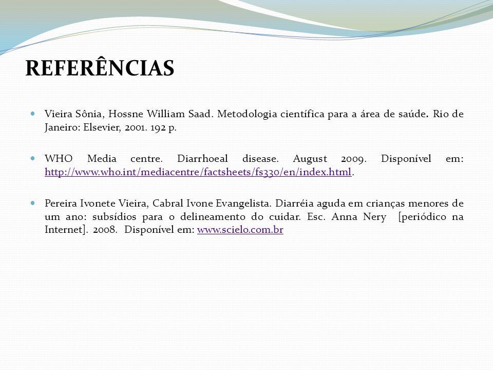 REFERÊNCIAS Vieira Sônia, Hossne William Saad. Metodologia científica para a área de saúde. Rio de Janeiro: Elsevier, 2001. 192 p.