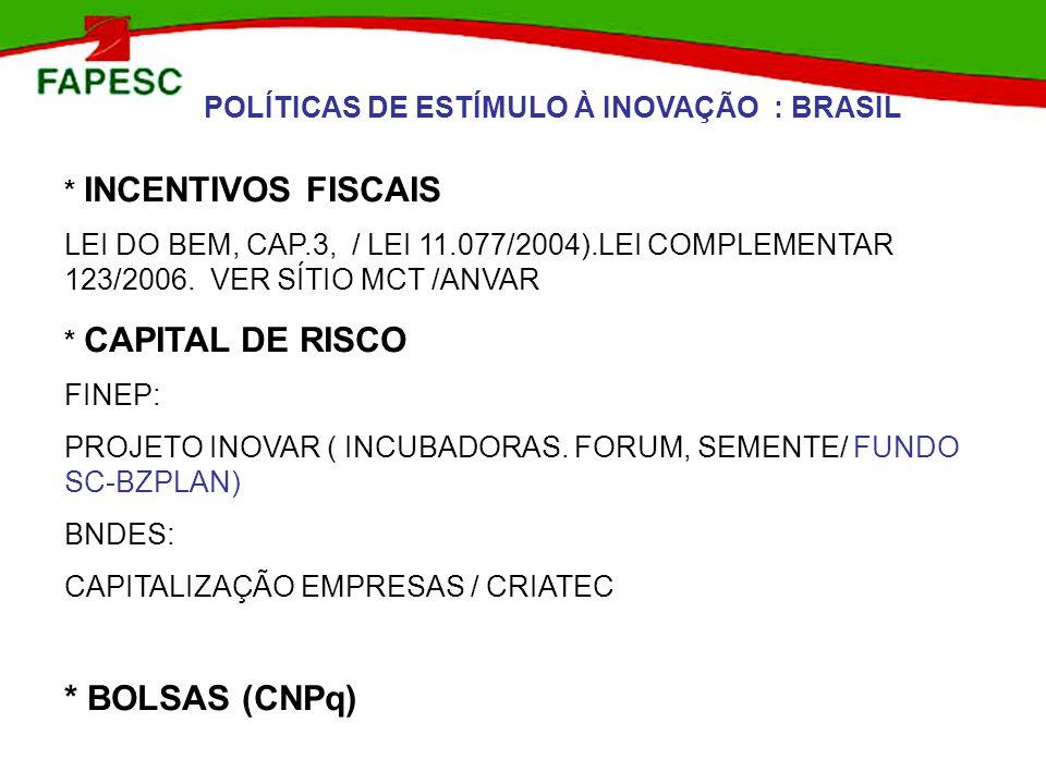 * BOLSAS (CNPq) POLÍTICAS DE ESTÍMULO À INOVAÇÃO : BRASIL