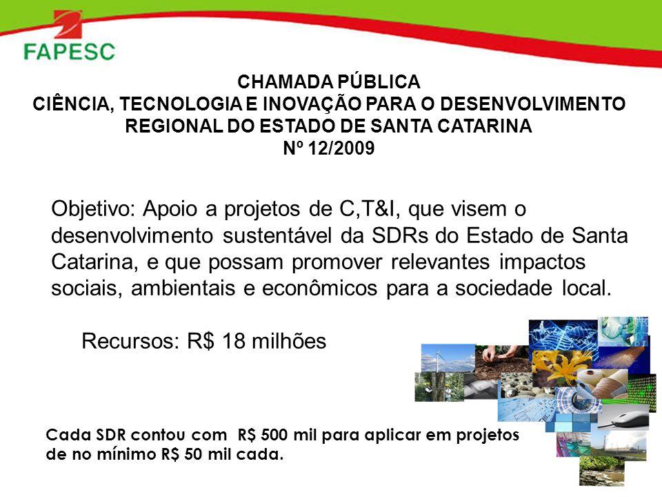CHAMADA PÚBLICA CIÊNCIA, TECNOLOGIA E INOVAÇÃO PARA O DESENVOLVIMENTO REGIONAL DO ESTADO DE SANTA CATARINA Nº 12/2009