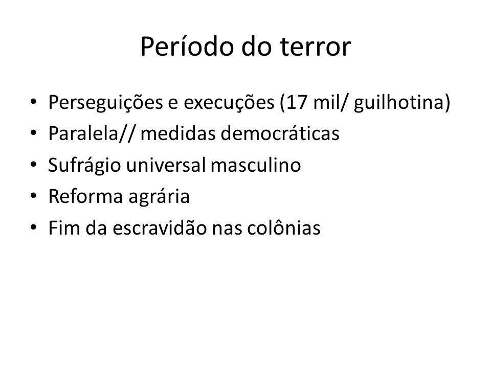 Período do terror Perseguições e execuções (17 mil/ guilhotina)