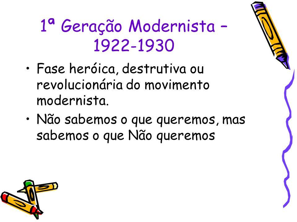 1ª Geração Modernista – 1922-1930