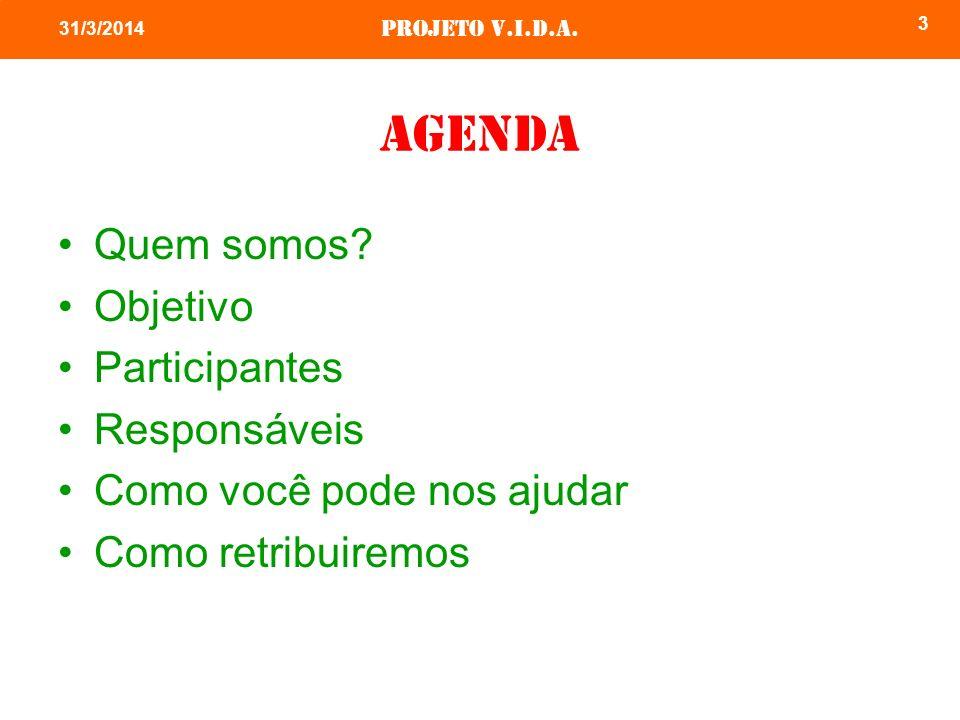 agenda Quem somos Objetivo Participantes Responsáveis