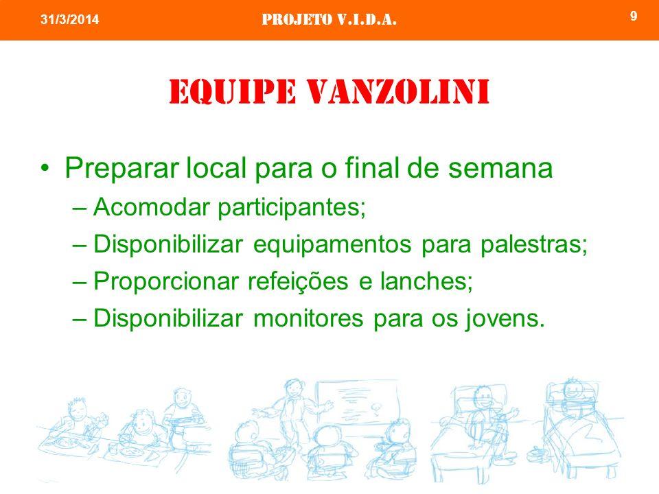 Equipe vanzolini Preparar local para o final de semana
