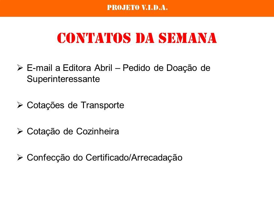 Contatos da semana E-mail a Editora Abril – Pedido de Doação de Superinteressante. Cotações de Transporte.