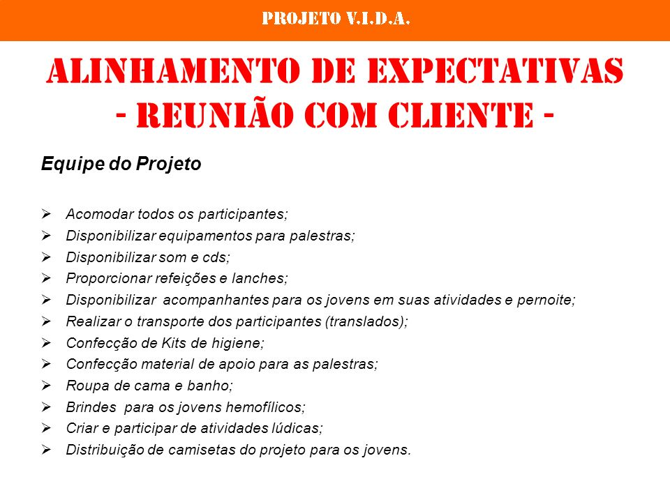 Alinhamento de expectativas - reunião com cliente -