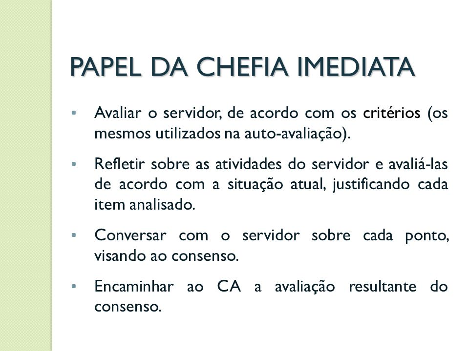 PAPEL DA CHEFIA IMEDIATA