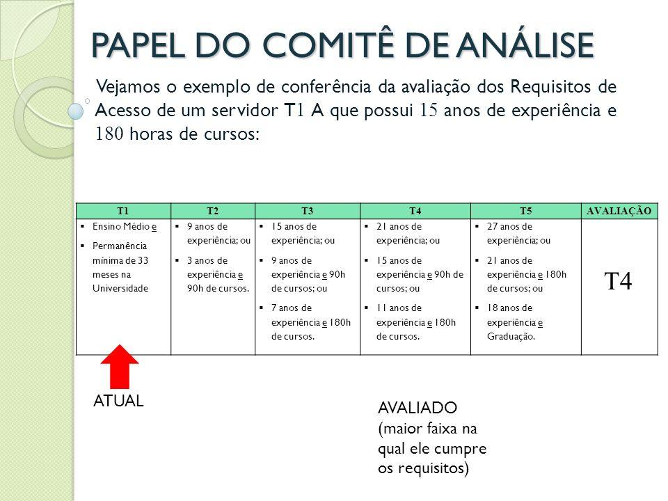 PAPEL DO COMITÊ DE ANÁLISE
