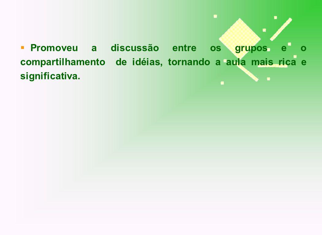 Promoveu a discussão entre os grupos e o compartilhamento de idéias, tornando a aula mais rica e significativa.