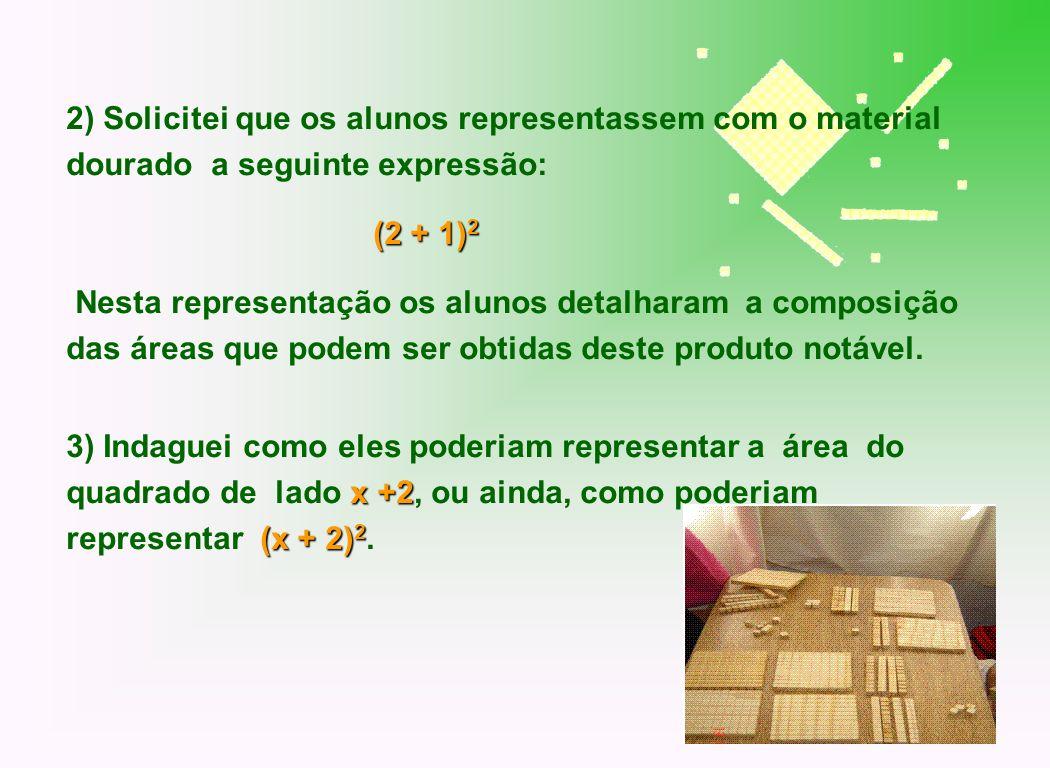 2) Solicitei que os alunos representassem com o material dourado a seguinte expressão: