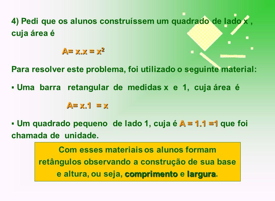 4) Pedi que os alunos construíssem um quadrado de lado x , cuja área é