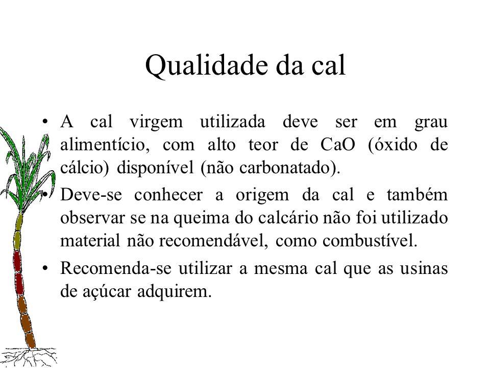 Qualidade da calA cal virgem utilizada deve ser em grau alimentício, com alto teor de CaO (óxido de cálcio) disponível (não carbonatado).