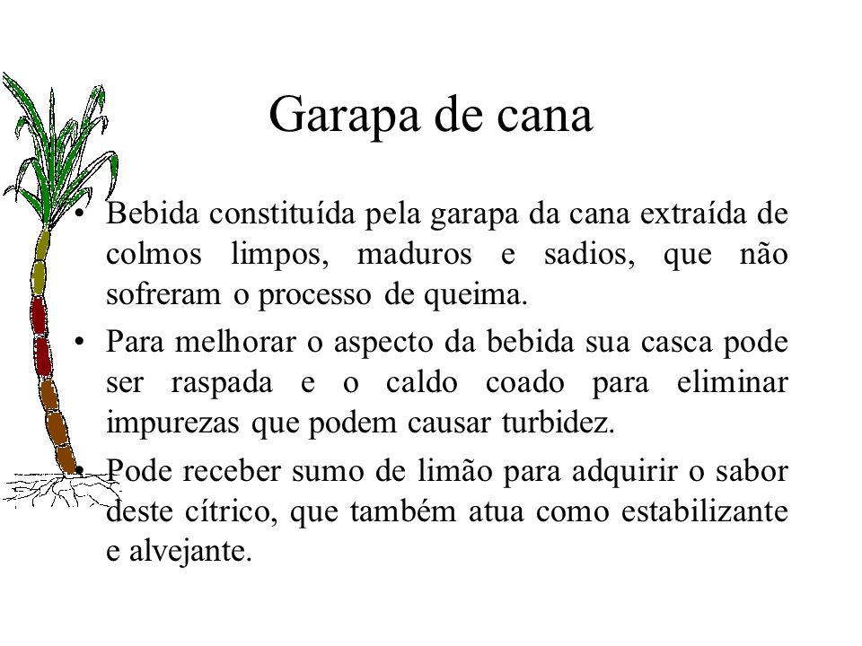 Garapa de canaBebida constituída pela garapa da cana extraída de colmos limpos, maduros e sadios, que não sofreram o processo de queima.