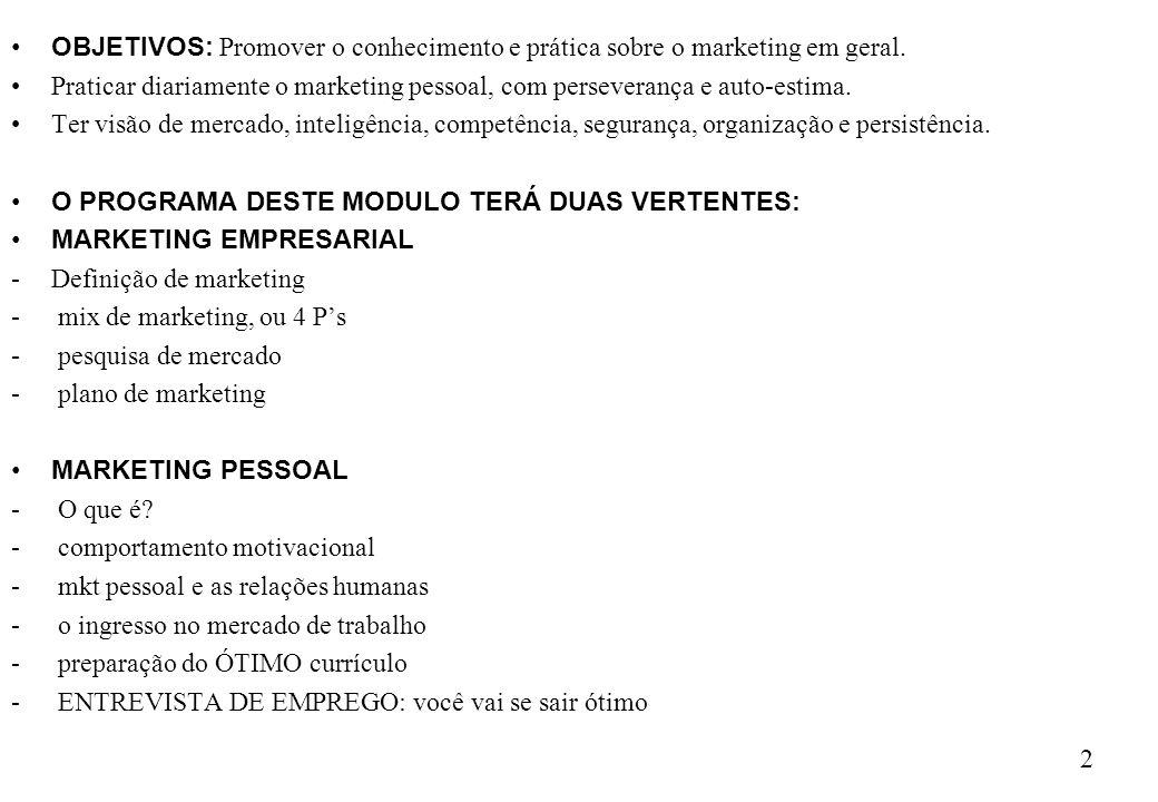 OBJETIVOS: Promover o conhecimento e prática sobre o marketing em geral.