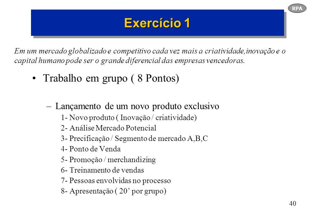 Exercício 1 Trabalho em grupo ( 8 Pontos)