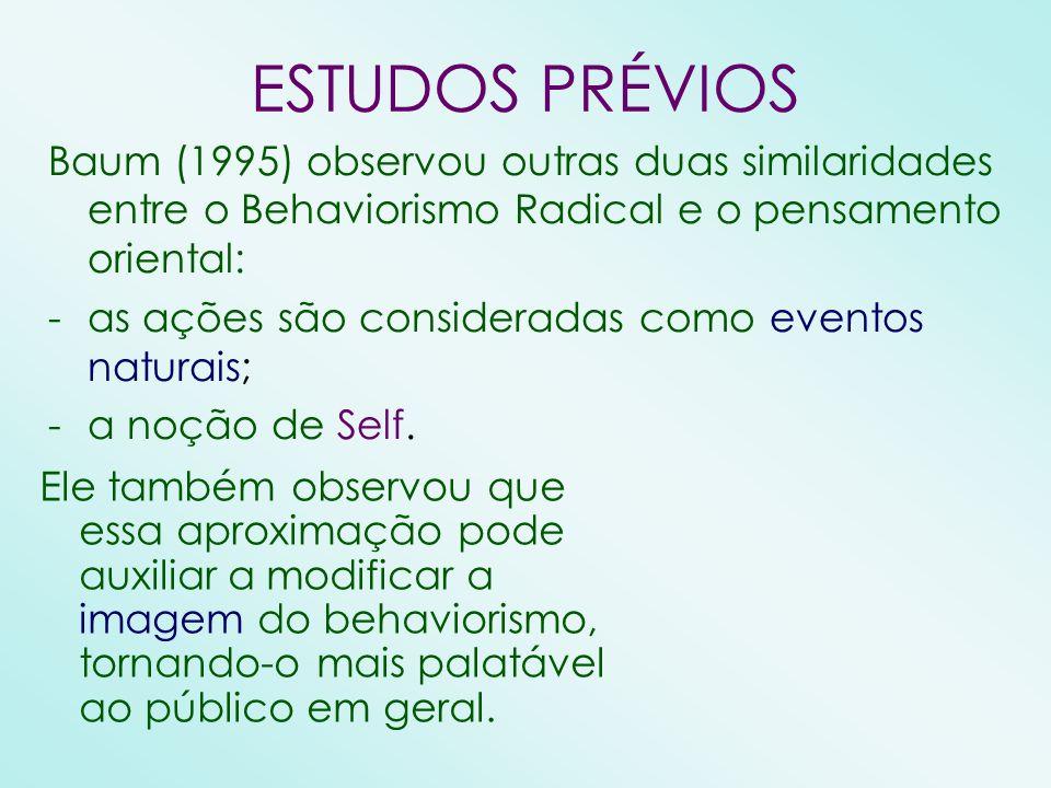 ESTUDOS PRÉVIOS Baum (1995) observou outras duas similaridades entre o Behaviorismo Radical e o pensamento oriental: