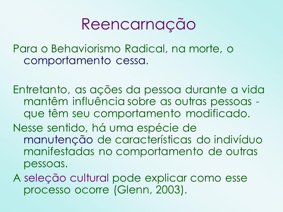 Reencarnação Para o Behaviorismo Radical, na morte, o comportamento cessa.