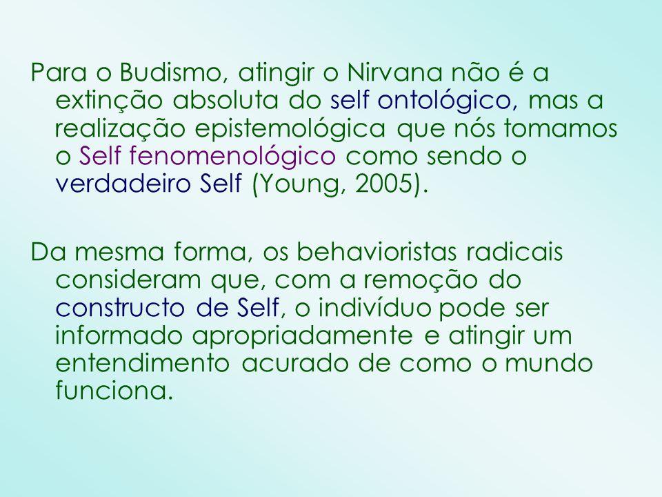 Para o Budismo, atingir o Nirvana não é a extinção absoluta do self ontológico, mas a realização epistemológica que nós tomamos o Self fenomenológico como sendo o verdadeiro Self (Young, 2005).