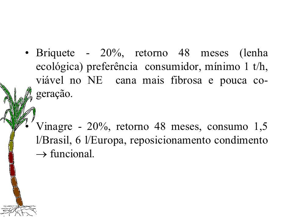 Briquete - 20%, retorno 48 meses (lenha ecológica) preferência consumidor, mínimo 1 t/h, viável no NE cana mais fibrosa e pouca co-geração.