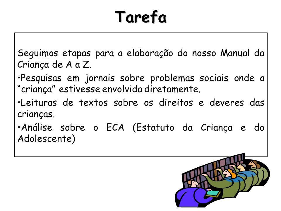 TarefaSeguimos etapas para a elaboração do nosso Manual da Criança de A a Z.