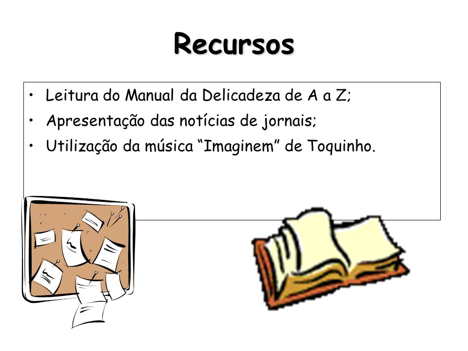 Recursos Leitura do Manual da Delicadeza de A a Z;