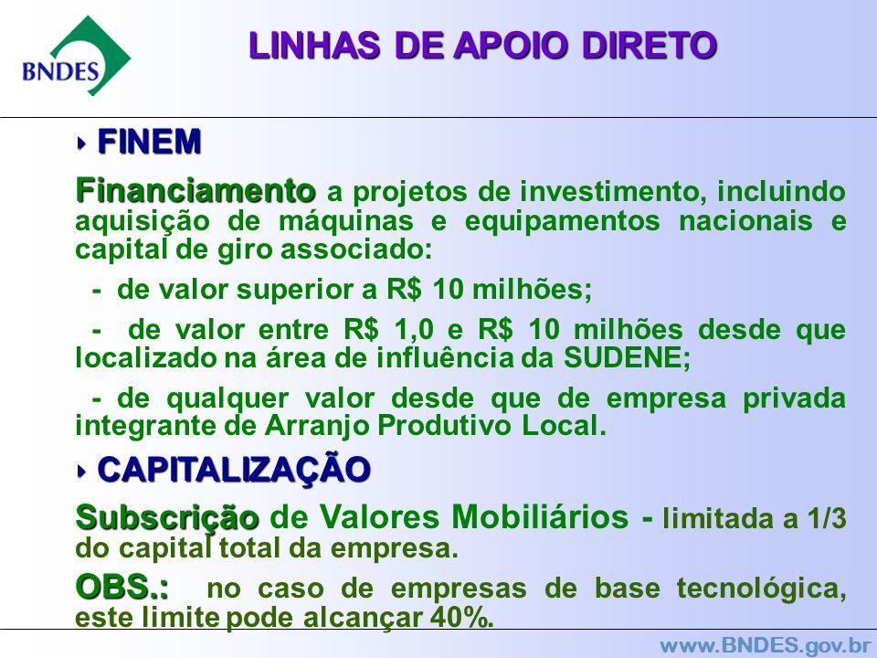 LINHAS DE APOIO DIRETO ‣ FINEM