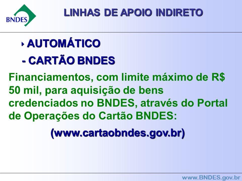 LINHAS DE APOIO INDIRETO