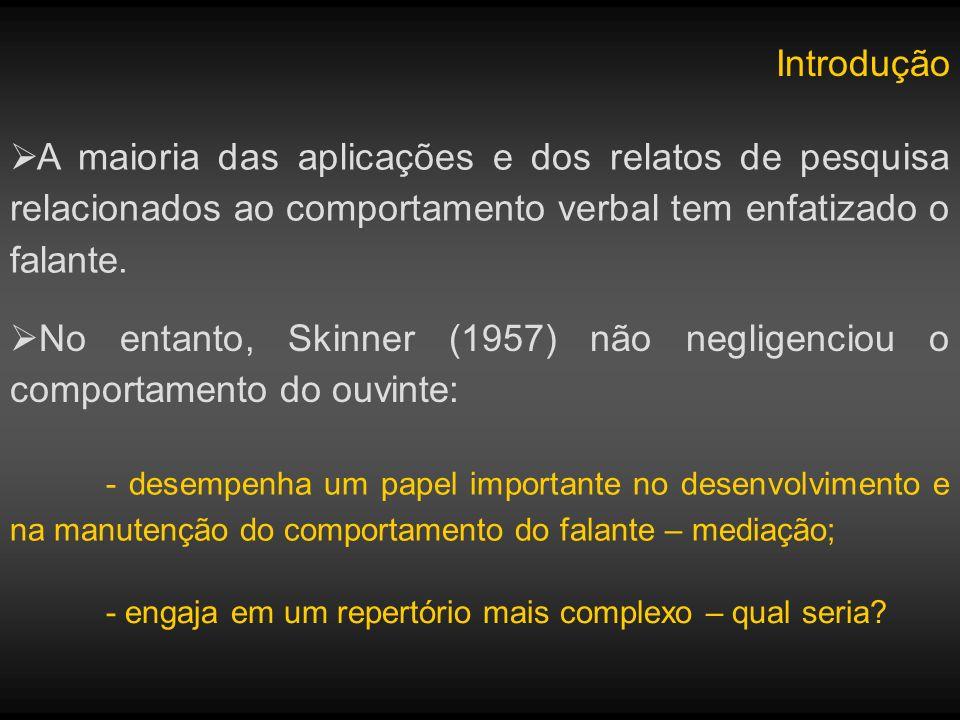 Introdução A maioria das aplicações e dos relatos de pesquisa relacionados ao comportamento verbal tem enfatizado o falante.