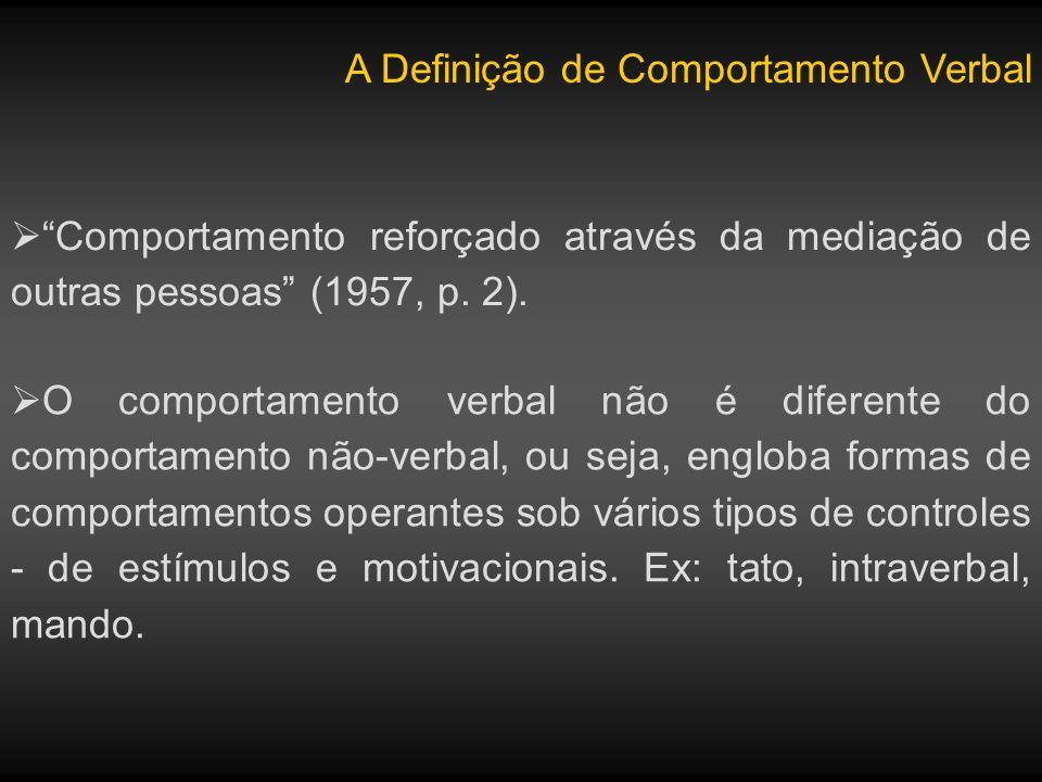 A Definição de Comportamento Verbal