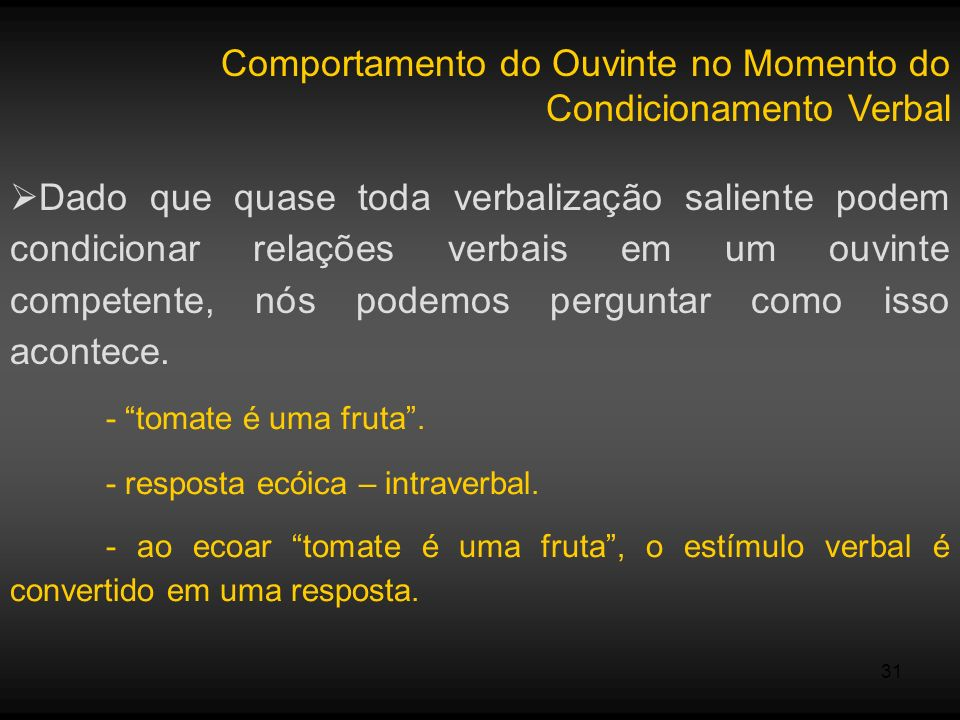 Comportamento do Ouvinte no Momento do Condicionamento Verbal