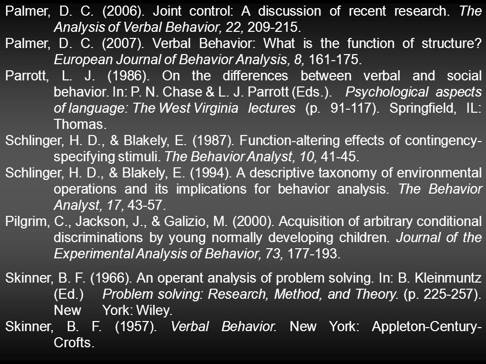 Palmer, D. C. (2006). Joint control: A discussion of recent research